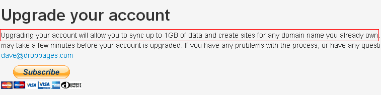 upgrading account on droppages