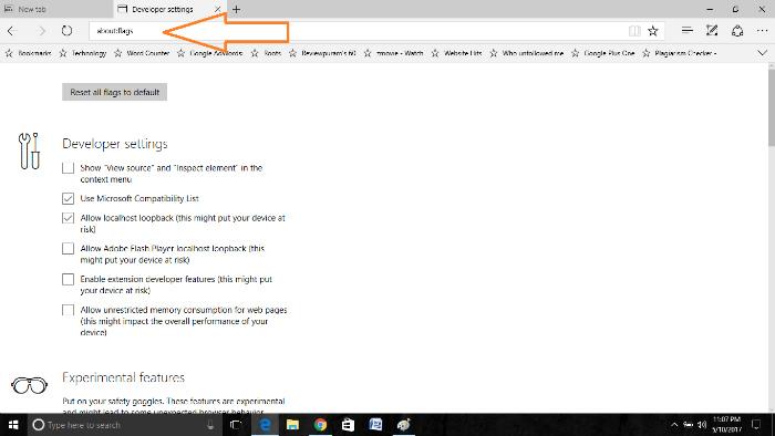 optimize microsoft edge browser settings-page