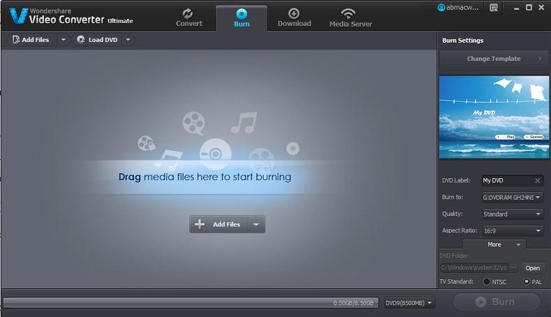 wondershare video converter ultimate dvdburner